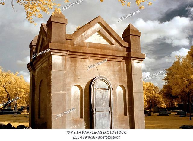 Infrared photography of a Grave mausoleum in Calvert cemetery, Calvert, Texas