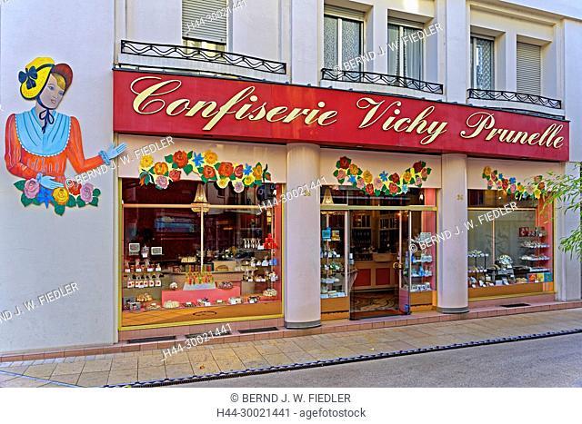 Geschäft, Confiserie Vichy Prunelle, Süßigkeiten, regional