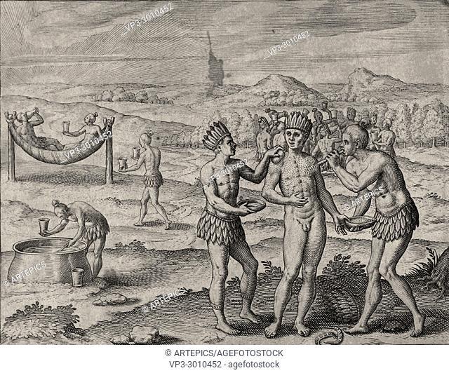 Theodor de Bry - El Dorado - Natives Indians feast