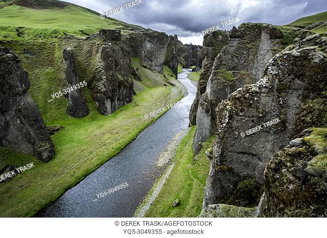 Fjaorargljufur Canyon, Iceland, about 100 meters deep and about two kilometers long