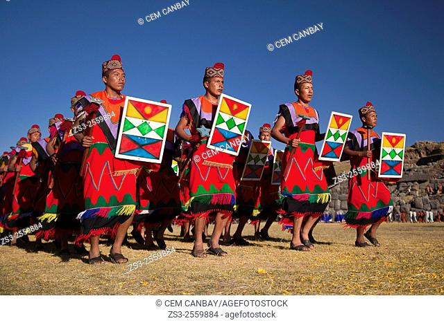 Scene from the Inti Raymi Festival at Saqsaywaman with the performers in the foreground, Cuzco, Peru, South America