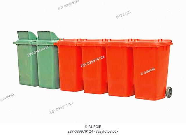 Trashcans on a white background