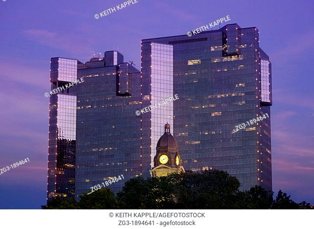 Fort Worth Skyline and buildings at dusk, Downtown Fort Worth, Texas, USA