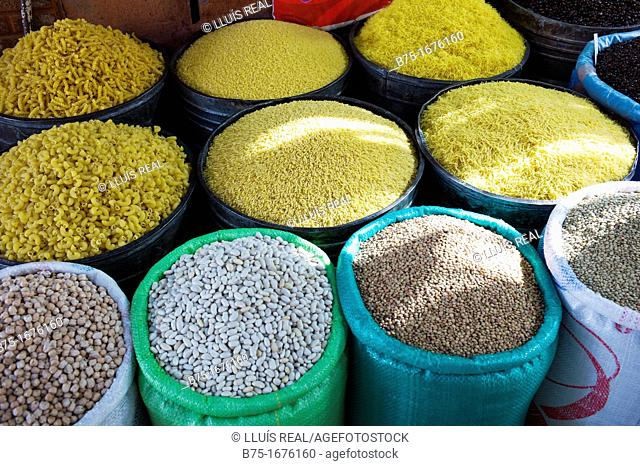 Shop selling legumes and pasta in bulk. Medina, Marrakech, Morocco, Northern Africa