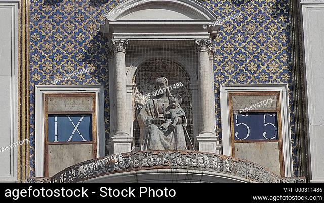 Astrological Clock, St Marks Square, Venice, Italy : statue of the Madonna and Child