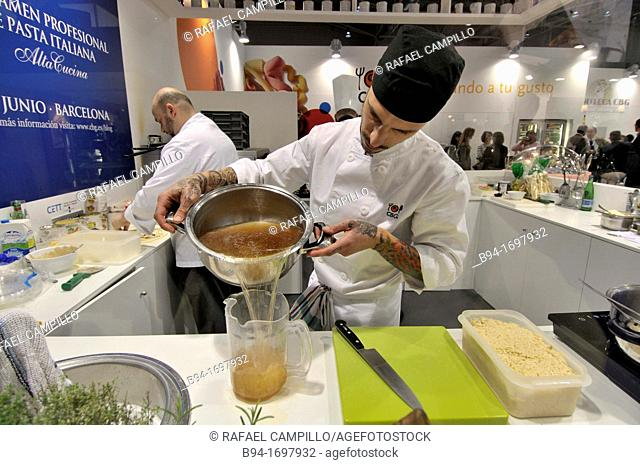 Cooks in Alimentaria International Food and Drinks Exhibition, L'Hospitalet de Llobregat, Barcelona, Catalonia, Spain