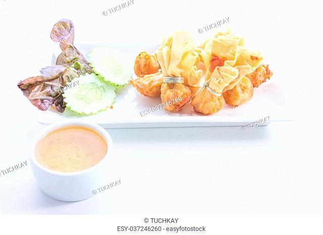 Fried pork dumplings wrapped is food thailand