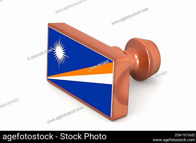 Wooden stamp with Marshall Islands flag image with hi-res rendered artwork that could be used for any graphic design