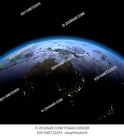 Australia in the dark at dawn. 3D illustration with detailed planet surface, atmosphere and visible city lights. Elements of this image furnished by NASA