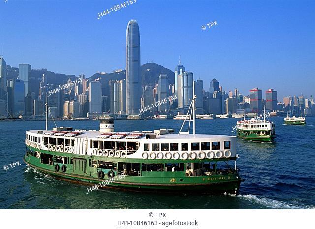 China, Asia, Hong Kong, Asia, Tsim Sha Tsui, Kowloon, Central, Victoria harbor, Harbor, harbor, Star Ferry, Ship, Boat