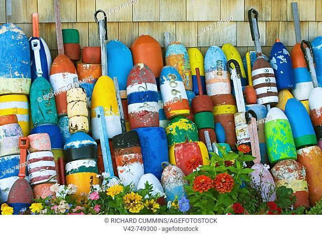 Fishing Buoys in Rockport, Cape Ann, Greater Boston Area, Massachusetts, USA