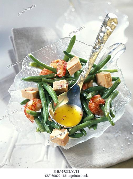 Warm crayfish and Foie gras salad