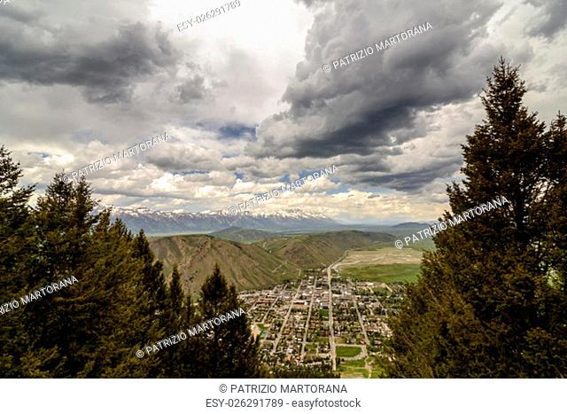 Ariel view of the city of Jackson Hole. United States of America, Wyoming