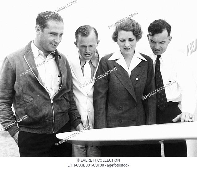 Pilots flying the 1935 Bendix Air Race from Burbank, California, to Cleveland, Ohio. L-R: Cecil Allen, Roy Hunt, Jacqueline Cochran, Royal Leonard. Ca