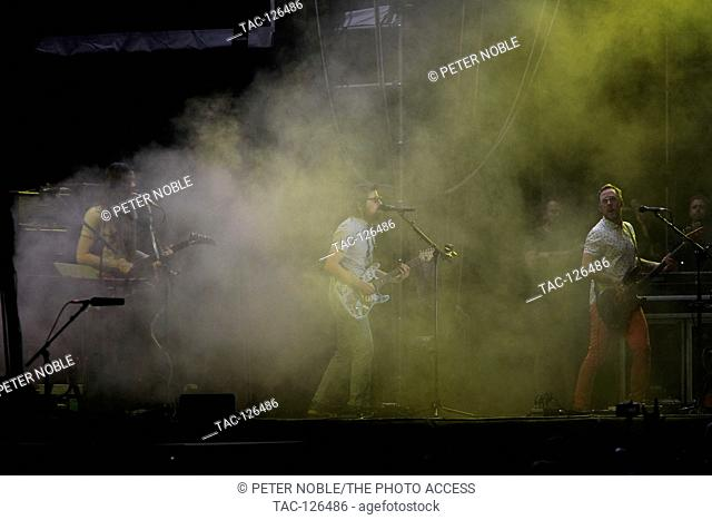 Brian Bell (l) and Rivers Cuomo of Weezer performs at Life is Beautiful Music Festival Day 3 on September 27th, 2015 in Las Vegas, Nevada