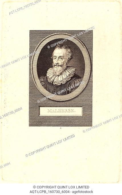 Augustin de Saint-Aubin (French, 1736 - 1807), Francois de Malherbe, 1805, engraving over etching on laid paper
