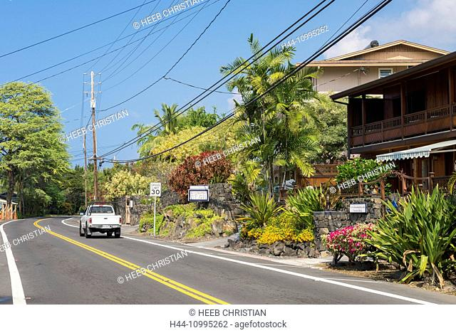 USA, Vereinigte Staaten, Amerika, Hawaii, Big Island, South Kona, beach road