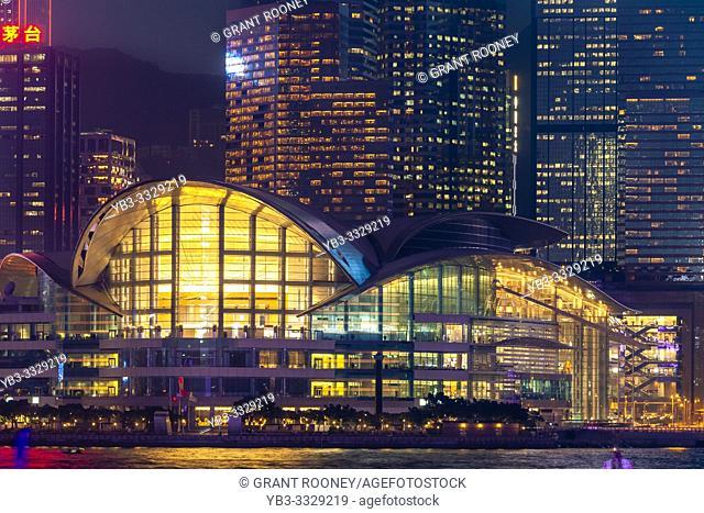 The Hong Kong Convention and Exhibition Centre and Hong Kong Skyline Viewed From The Promenade, Kowloon, Hong Kong, China