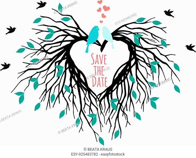 heart shaped wedding tree with birds, save the date, vector illustration