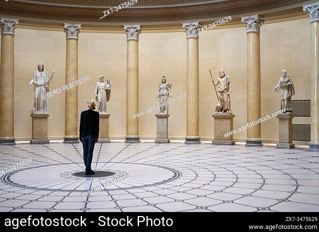 Sculptures in atrium of inside Altes Museum on Museumsinsel in Berlin Germany