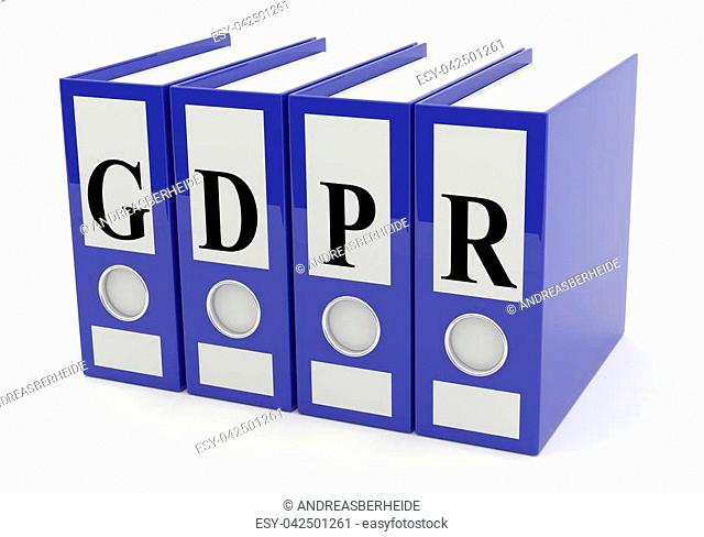 Blue folder in a row with the Letters GDPR on a white background, 3d rendering