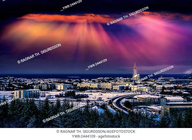 Reykjavik skyline at sunset, Iceland
