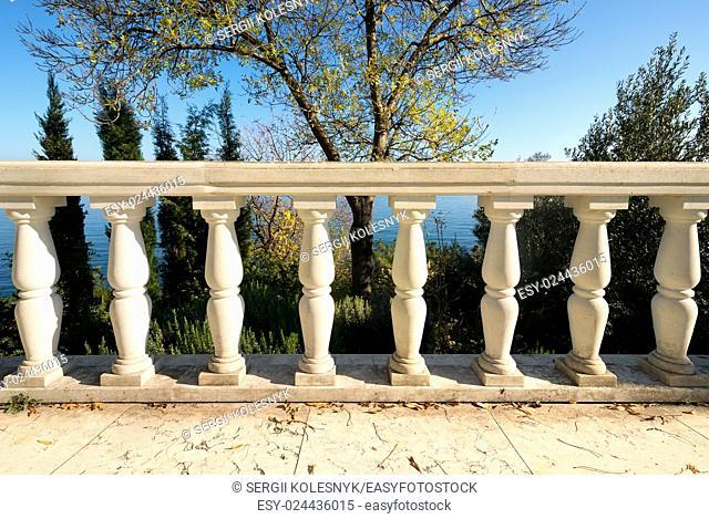 Decorative columns on a viewpoint deck near sea
