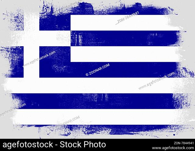 Flag of Greece painted with brush on solid background
