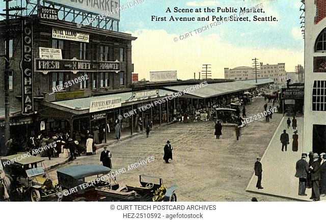 Public Market, First Avenue and Pike Street, Seattle, Washington, USA, 1915. Vintage postcard showing the exterior of the market and surrounding street