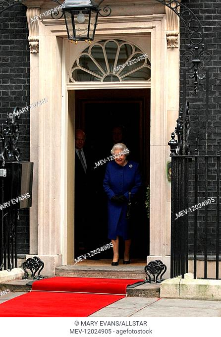 Queen Elizabeth II during a Royal Visit to Number 10 Downing Street, London, where she received a gift to mark the Diamond Jubilee and attended a Cabinet...