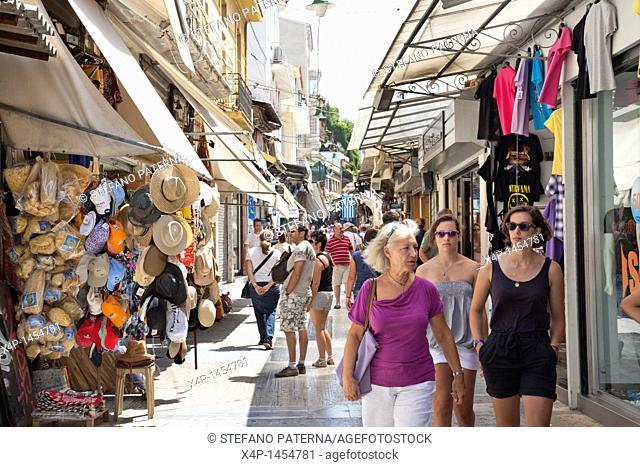 Shopping along Pandrossou Street, Central Bazaar, Monastiraki, Athens Greece
