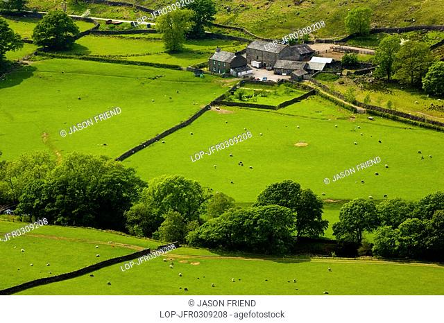 England, Cumbria, Eskdale, Lake District National Park. Farm and agricultural land in Eskdale, Western Lake District