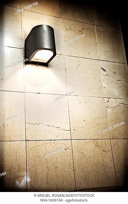 Apply light on an old wall tiles
