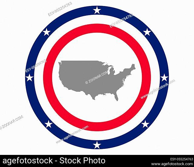 Amerikanische Fahne und Landkarte - American flag and map
