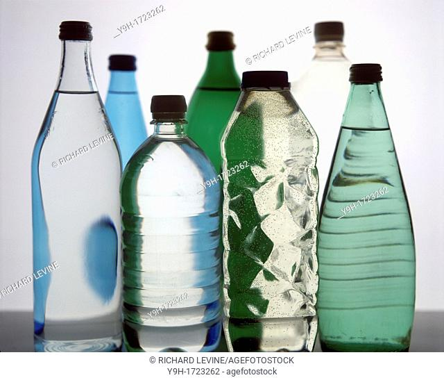 An assortment of bottled waters
