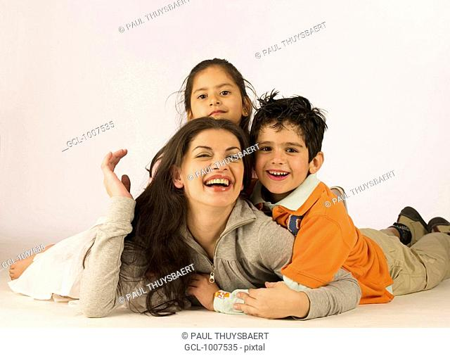 Mother and her kids having fun