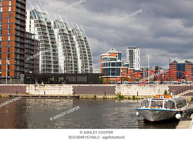 New apartment blocks at Salford Quays in Manchester, UK