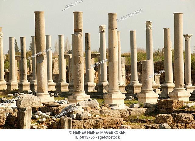 Colonnade pillars, columns, main road, Perga, Perge, southern Turkey, Asia