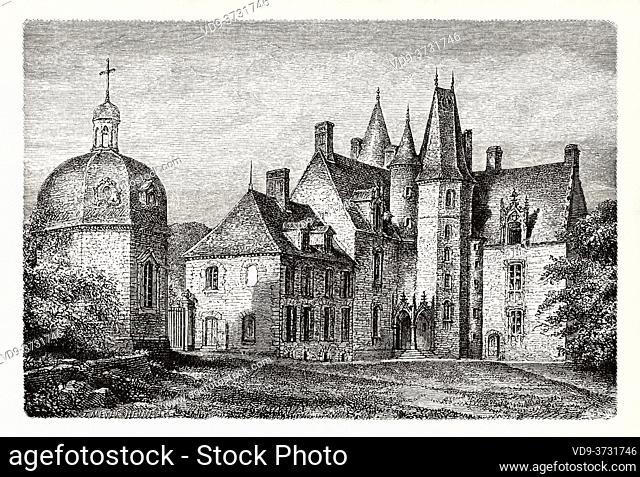 Chateau des Rochers at Sévigné, Brittany, France. Old XIX century engraving illustration. Les Français Illustres by Gustave Demoulin 1897