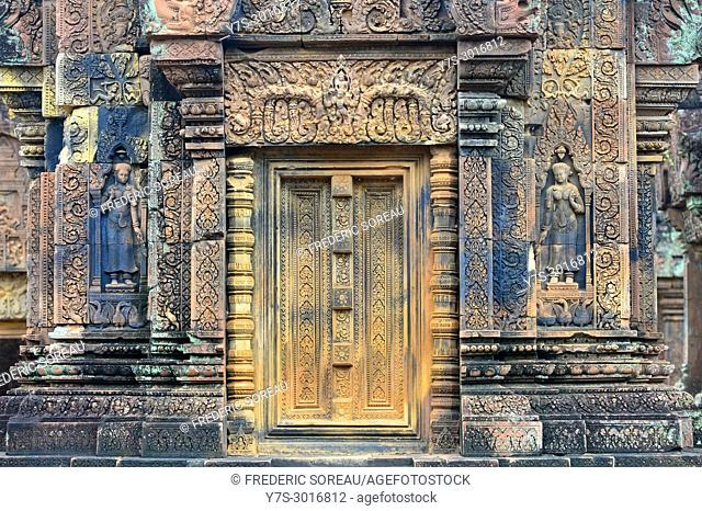 Ornate door in Banteay Srei temple, Angkor, Cambodia, South East Asia, Asia