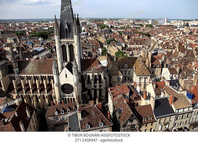 France, Bourgogne, Dijon, Notre-Dame Church, aerial view