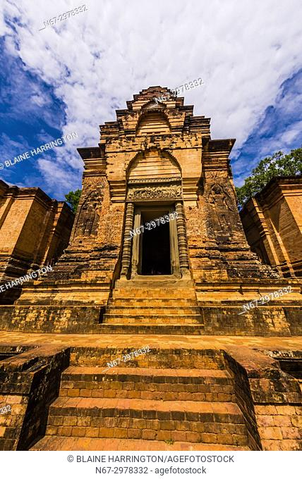 Prasat Kravan is a small 10th-century temple consisting of five reddish brick towers on a common terrace, located at Angkor, Cambodia