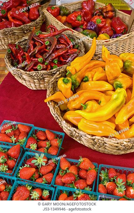 Organic locally grown produce at farmers' market in Nevada City, California