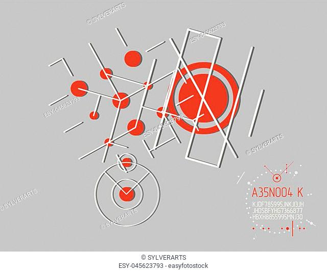 Futuristic abstract vector technology background. Mechanical engineering wallpaper. Art graphic illustration