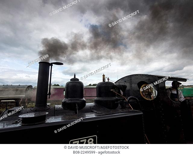 Baldwin vintage steam locomotive on the Golden Valley Light Railway, near ripley, Derbyshire, UK