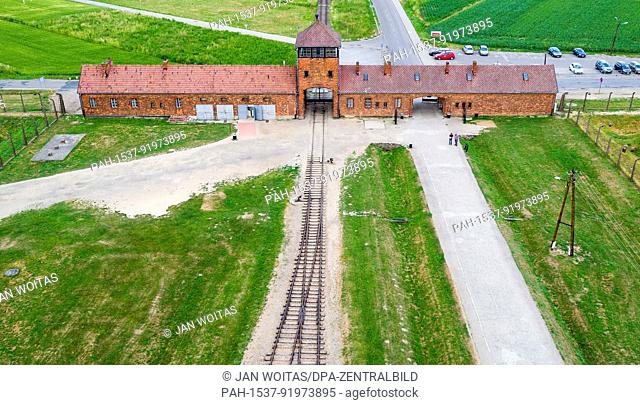 The gate of the former concentration camp Auschwitz-Birkenau can be seen in Oswiecim, Poland, 26 June 2017 (taken with a drone)
