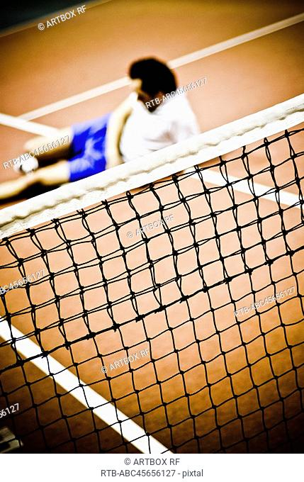 High angle view of a man in the tennis court
