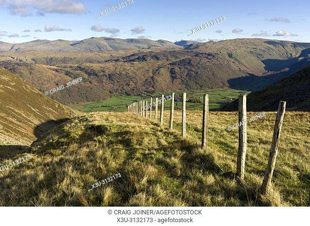 The view over Rigghead Quarries to Rosthwaite in the Borrowdale Valley in the Lake District National Park, Cumbria. , England