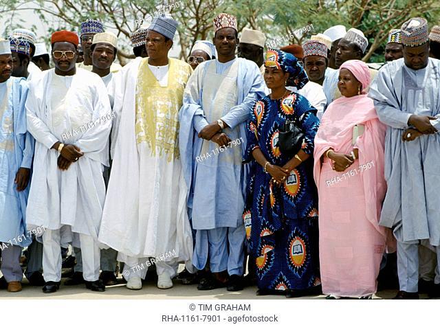 Nigerian men and women attending tribal gathering durbar cultural event at Maiduguri in Nigeria, West Africa