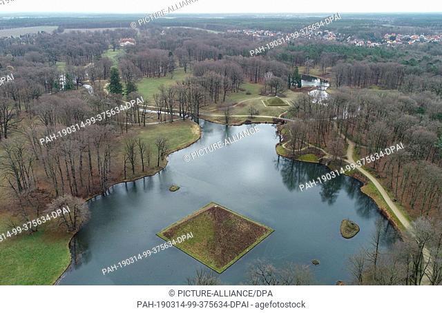 14 March 2019, Brandenburg, Branitz: View of the lake pyramid in the Fürst-Pückler-Park near Cottbus (aerial view with a drone)